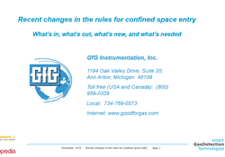 Webinar:  Recent changes in the rules for confined space entry