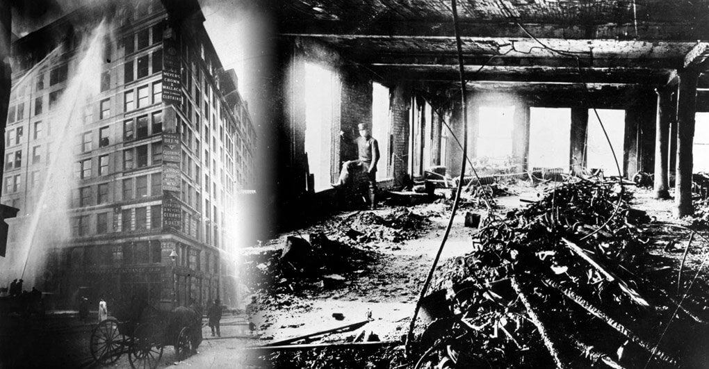 The Triangle Shirtwaist factory during and after the fire that claimed over one hundred lives.