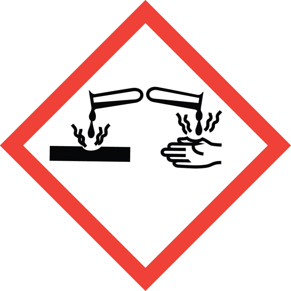 GHS05 – Corrosive - pictogram for category 1 corrosive substances