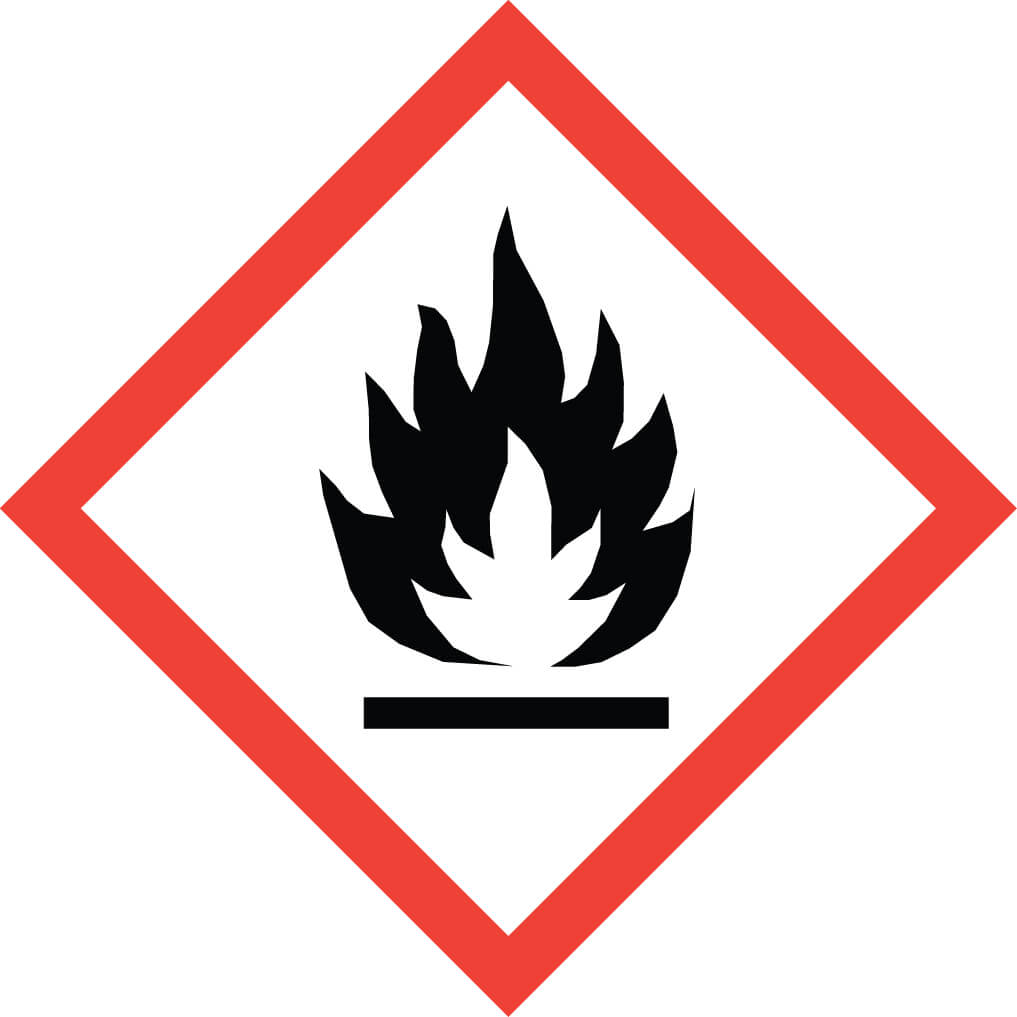 GHS02 – Flammable pyrophoric liquids solids self-reactive substances organic peroxides result in flammable gasses when mixed with water