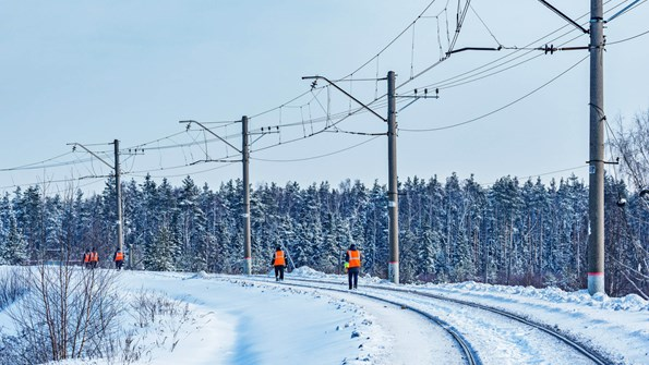 Workers walking during winter