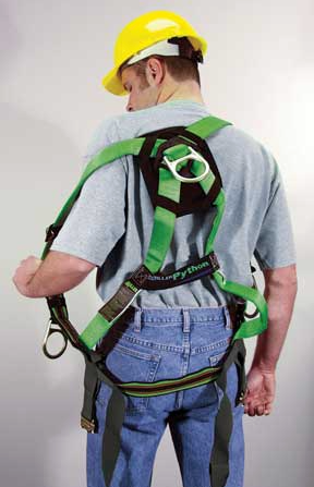 Putting on a full body safety harness