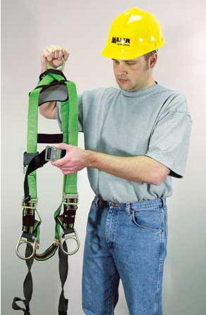 Fitting a safety harness - undoing straps