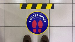 Floor marking indicating social distancing
