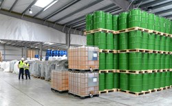 Chemicals stored in warehouse