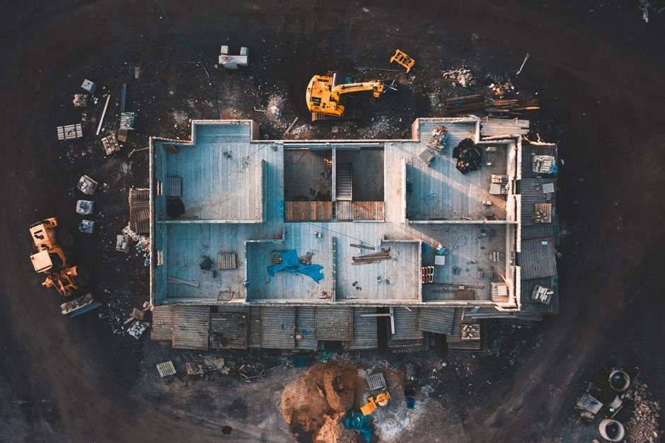 Aerial shot of a construction site
